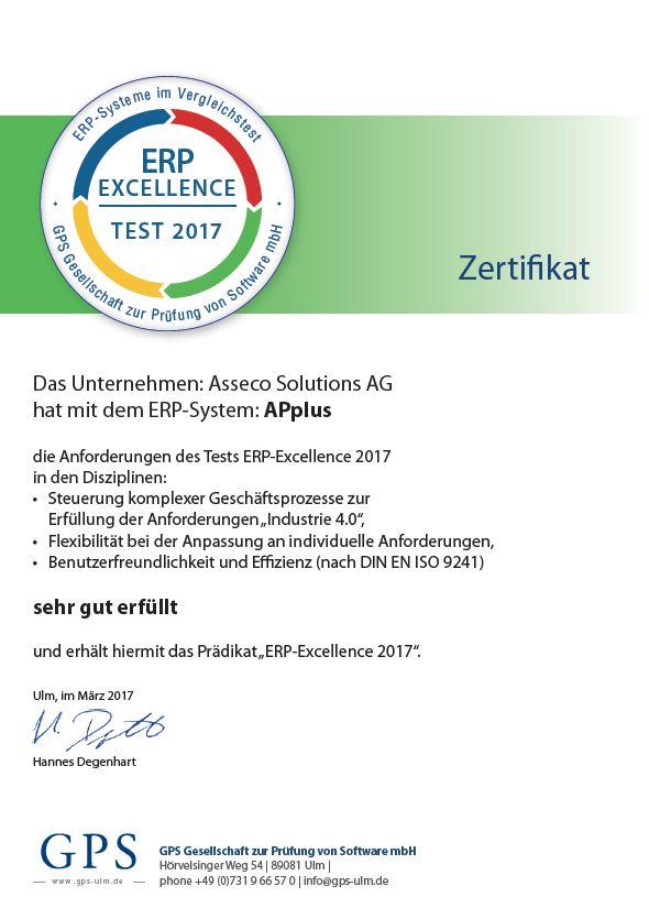 """APplus mit """"ERP Excellence 2017""""-Siegel ausgezeichnet"""